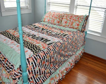 Ruffle Duvet- Twin or Full Size Bedding in Mint Coral Metallic Gold Fabric