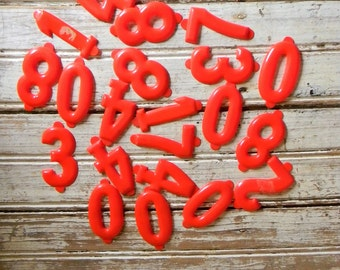 Vintage Plastic Numbers, DIY Craft Supply, Vintage Asseblage, Red Shiny Plastic Numbers, 2 Inch Plastic Letters, lot of 21, Crafts, DIY