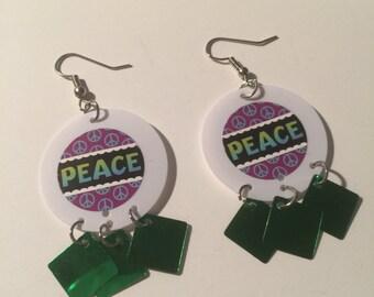 Peace, Peace Earrings, Peace Dangles, Peace Jewelry, Peace sequin earrings, Peace Sequin Dangles, sequin earrings, sequin dangles, sequin
