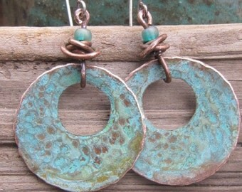 Copper Earrings with Blue Patina and vintage wire wrap beads