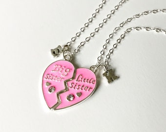 Big Sister Little Sister, Big Sister Little Sister Gift, Gift for Big Sister, New Baby, Pink Heart, Heart Necklace, Initial Necklace N096