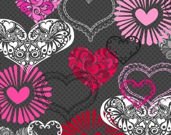 Adore Valentine Heart Fabric Multi Patterned Hearts Pink Red Black on Charcoal Dark Gray by H Glass
