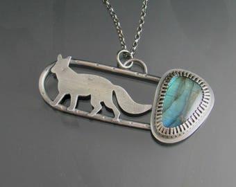 fox labradorite necklace - sterling silver necklace - woodland jewelry - fox jewelry - forest - animal - hallmark