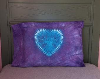 Heart Tie-Dyed Pillowcase - Lavender with Turquoise Heart