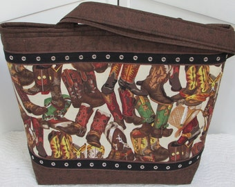 Fancy Cowboy Boots Large Tote Bag Western Boots  Purse Country Tote Shoulder Bag Ready to ship