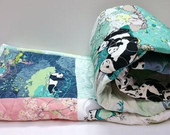 Handmade Panda Bear Baby Quilt-Modern Patchwork Crib Bedding-Mint-Navy Blue-Pink-Asian-Arrows Baby Blanket-Nursery