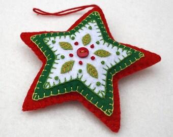 Felt Christmas ornament, Red White & Green star Christmas ornament, handmade christmas ornament, felt star ornament, star Christmas ornament