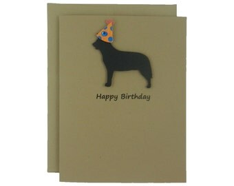 Australian Cattle Dog Birthday Card Pet Birthday Dog Cards Pet Birthday Card Birthday Dog Party hat Dog Lover Card Black Dog Birthday Party