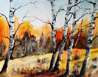 Original Watercolor Landscape painting, Birch tree art, #pinetreeart, Jim Lagasse.