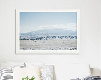 "Landscape Photography Fine Art Print // New Mexico Desert Winter // Nature Photography // Large Living Room Art Modern - ""New Mexico Winter"""