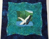 """HUMPBACK WHALE Fabric Pillow Cover Case~ Artistic Quilt Sashing~Tropical, Hawaiian~ Blue and Green Batiks~ Fits 18"""" Pillow"""