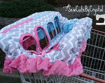 BOY and GIRL Twin Grey Chevron with Pink & Blue Minky w/Ruffle Fully Padded Shopping Cart Cover - More Fabrics and Minky Color Options