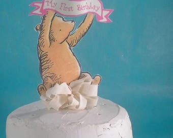 Classic Pooh bear cake topper, fabric Winnie the Pooh birthday party decoration D291