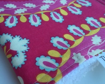 Baby Girl CHENILLE BURP CLOTH  -  Dena Designs - Pink Print