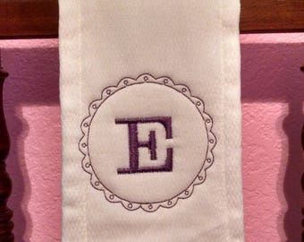 Embroidered monogram burp cloth