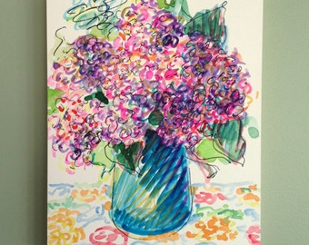 Lilacs, watercolor painting