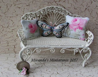 Ooak Dollhouse Miniature Blue pink Butterfly pillow set pink roses cottage chic