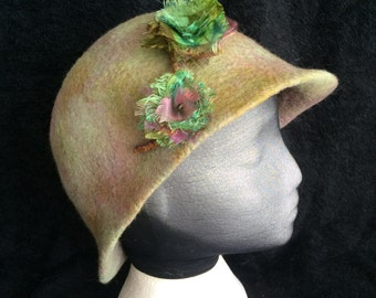 Merino wool cloche style dress hat with silk accent flowers