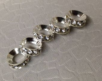 European style Silver with Clear Rhinestone Bling spacer beads little lot of Five Mix and Match add to bracelet (NOT INCLUDED)