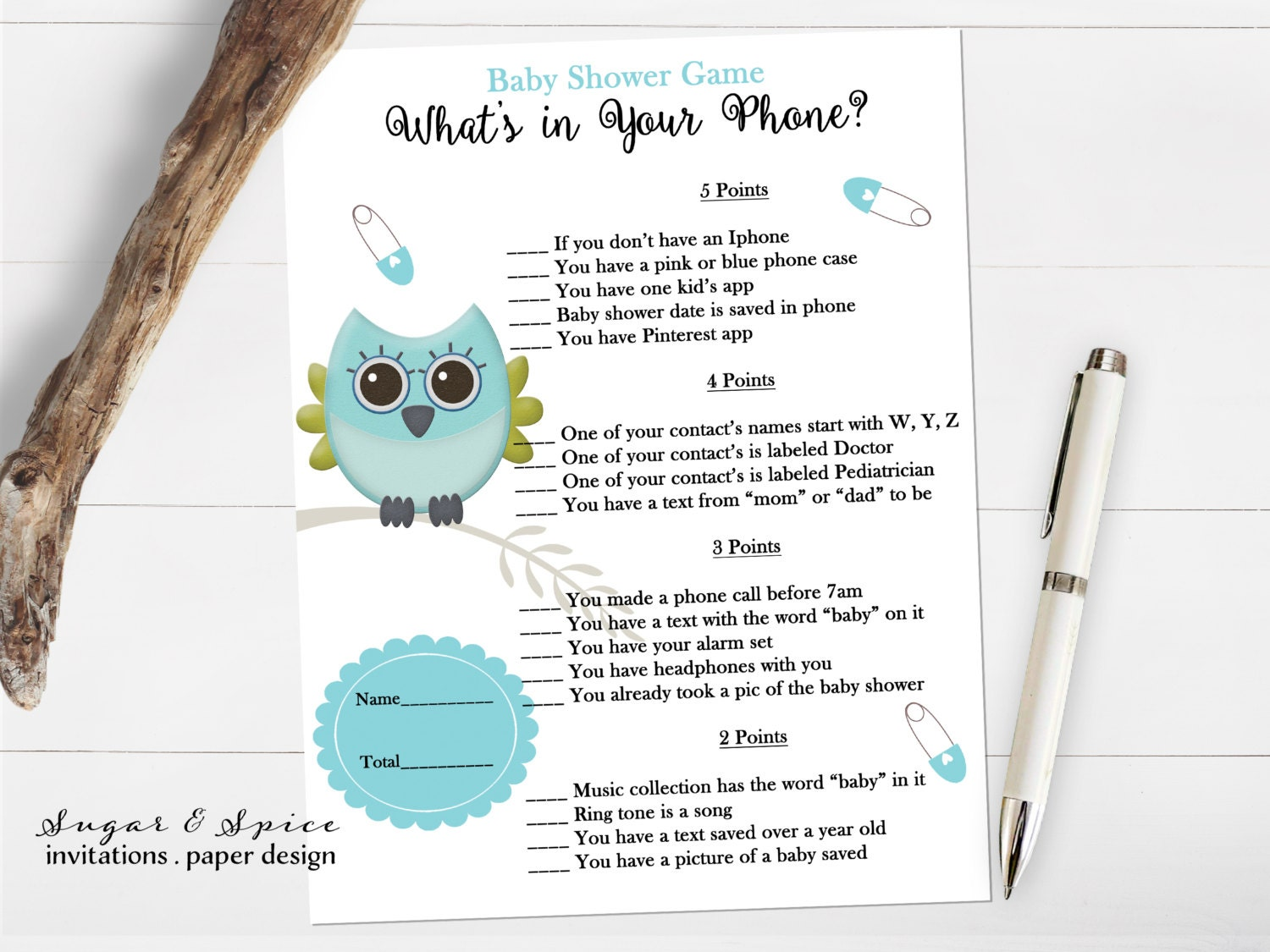 what 39 s in your phone game baby shower game printable