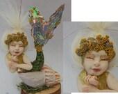 Murfee Sleeping Baby Mermaid OOAK Fairy Sculpture Art Doll Fairies New Figurine Polymer Clay Fantasy Art Sea Shell Meramid Tail