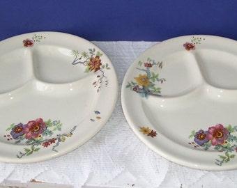 2 Syracuse Old Ivory Cathay Grill Plates, Heavy SPlates, Railroad Dining Car, Hotel or Restaurants Plates, O.P. & Co. Onondao Pottery Co.