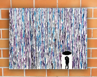 Custom Wedding Gift Art, Rain Painting, Melted Crayon Art, Wedding Date Art, Handmade Silhouette Painting, Anniversary Gift For Her 22x28