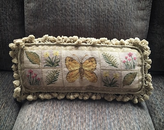 """Vintage 20"""" by 8"""" needlepoint throw pillow, butterfly pillow velvet back tassels, throw pillow with tassels, cottage chic decor light olive"""