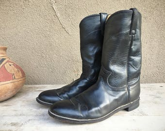 Vintage black leather cowboy boots Women's size 9 B Justin Ropers short cowgirl boots cheap