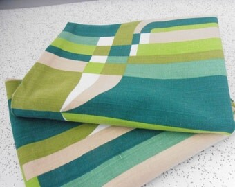 geometric in greens...pair of vintage cotton pillowcases