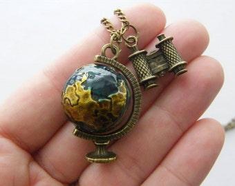 1 Globe and binoculars charms antique bronze tone NB10