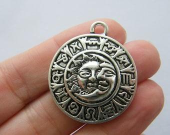BULK 10 Sun moon zodiac sign charms antique silver tone M21