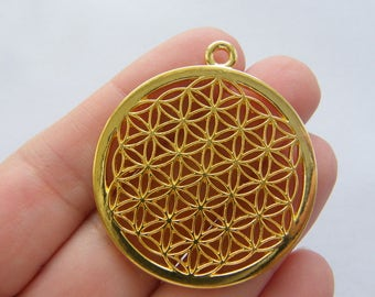 1 Flower of life charm gold tone GC321