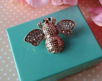 Vintage Rhinestone Bee, Brooch Pin