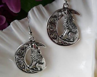 Wolf on Moon Earrings