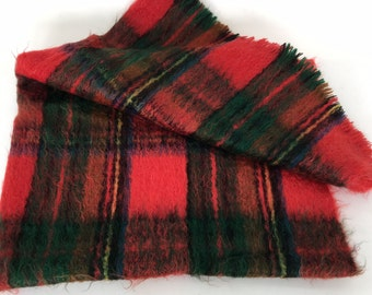Vintage Tartan Plaid Mohair Blanket/ Throw