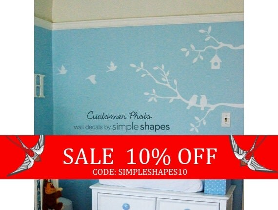 Sale - Cute Birds and Branches Decal - Vinyl Wall Decal - SM