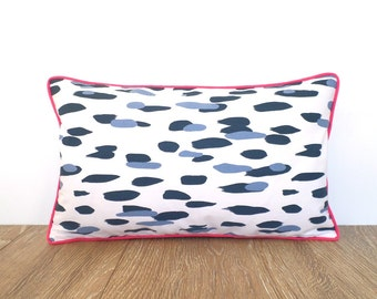 Blue dot pillow cover modern home decor, polka dot throw pillow case, leopard pillow cover, brush stroke pillow case, blue and pink cushion