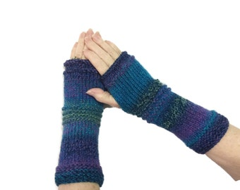 Fingerless Gloves, Gloves, Knit Gloves, Hand Knit Gloves, Texting Gloves, Arm Warmers, Fingerless Mittens. Teen Gloves, Blue Pink Gloves