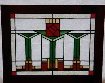 Large Craftsman Red Rose Window