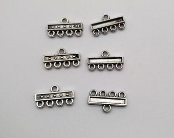 10 pcs Antique Silver Connectors, End Bar Link, Earring Chandelier, bracelet connectors, earring connectors, 4 to 1 connector, Rectangle bar