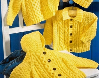 Baby Aran Hooded Jacket Collared Jacket & Sweater Pattern DK 8 ply for sizes 16 - 26 Inches