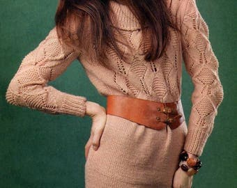 Download instantly - Womens Knitted Dress Pattern - Shift Tunic Dress Spring Fashion