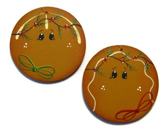 Ginger Ornament, Handpainted Wood, Hand Painted Christmas Ornament, Tole Decorative Painting