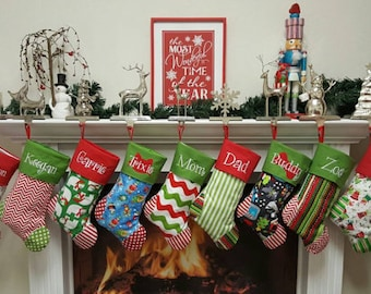 sale set of 5 family christmas stockings choose your favorite 5 and - Monogrammed Christmas Stockings