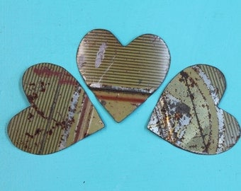 3 rusted hearts cut from rusted, faded Folger's can for altered art, mixed media, collage, steampunk, assemblage