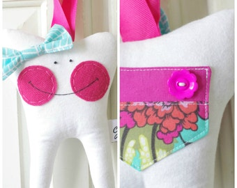 Tooth Fairy Pillow with Bow (Tula Pink)-READY TO SHIP