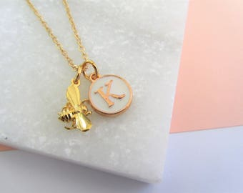 Gold Bee Necklace, Bee and Initial Letter Necklace, Personalised Necklace Jewellery, Queen Bee Necklace, Gift for Her Mom Mum, Mother's Day