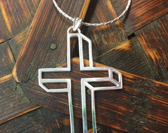 Cross Necklace in 3-D Look Sterling Silver Hand Wrought