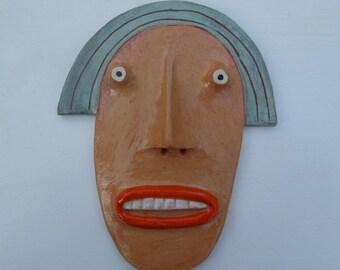Mini Flathead Wall piece with blue pageboy hair, orange face